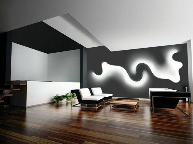 LED Lampen designer-wohnbereich-wandbeleuchtung-idee-wellenfoermiges - led leuchten wohnzimmer