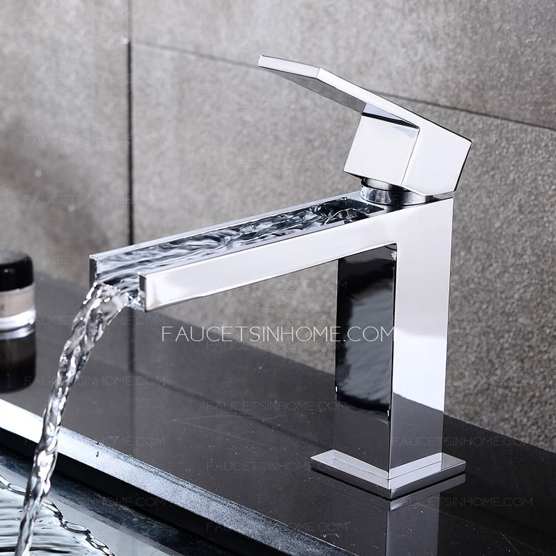 105 Cool Square Shaped Long Waterfall Spout Bathroom Sink Faucet