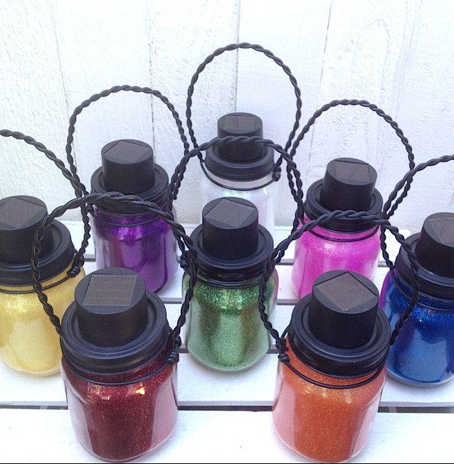 Mason Jar Light Eight Colors Outdoor Solar Light Colored Solar Mason Jar Lanterns Hanging Lantern Pint Size Outdoor Lighting