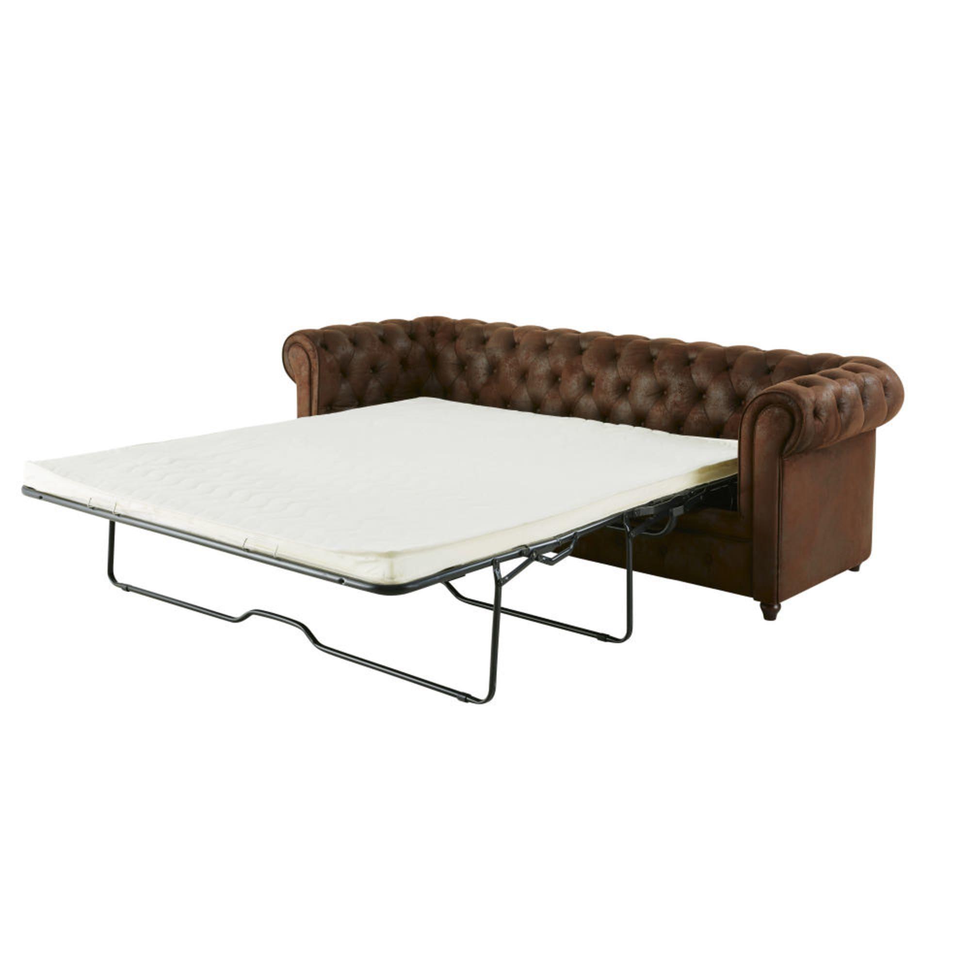 Canape Lit Capitonne 3 Places En Suedine Marron Outdoor Furniture Outdoor Decor Furniture