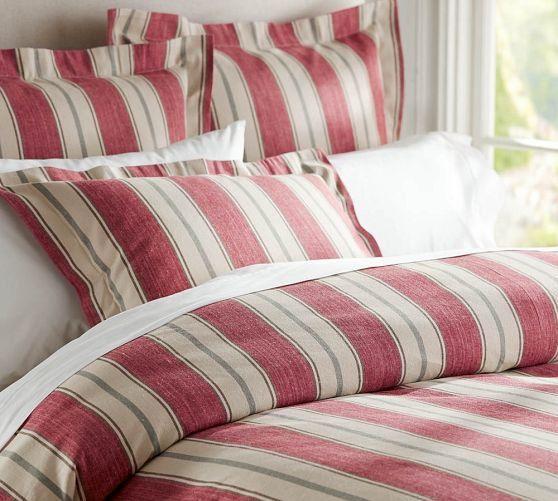 Joshua Stripe Duvet Cover Sham Red Pottery Barn Red Bedding Sets Red Bedding Striped Duvet Covers