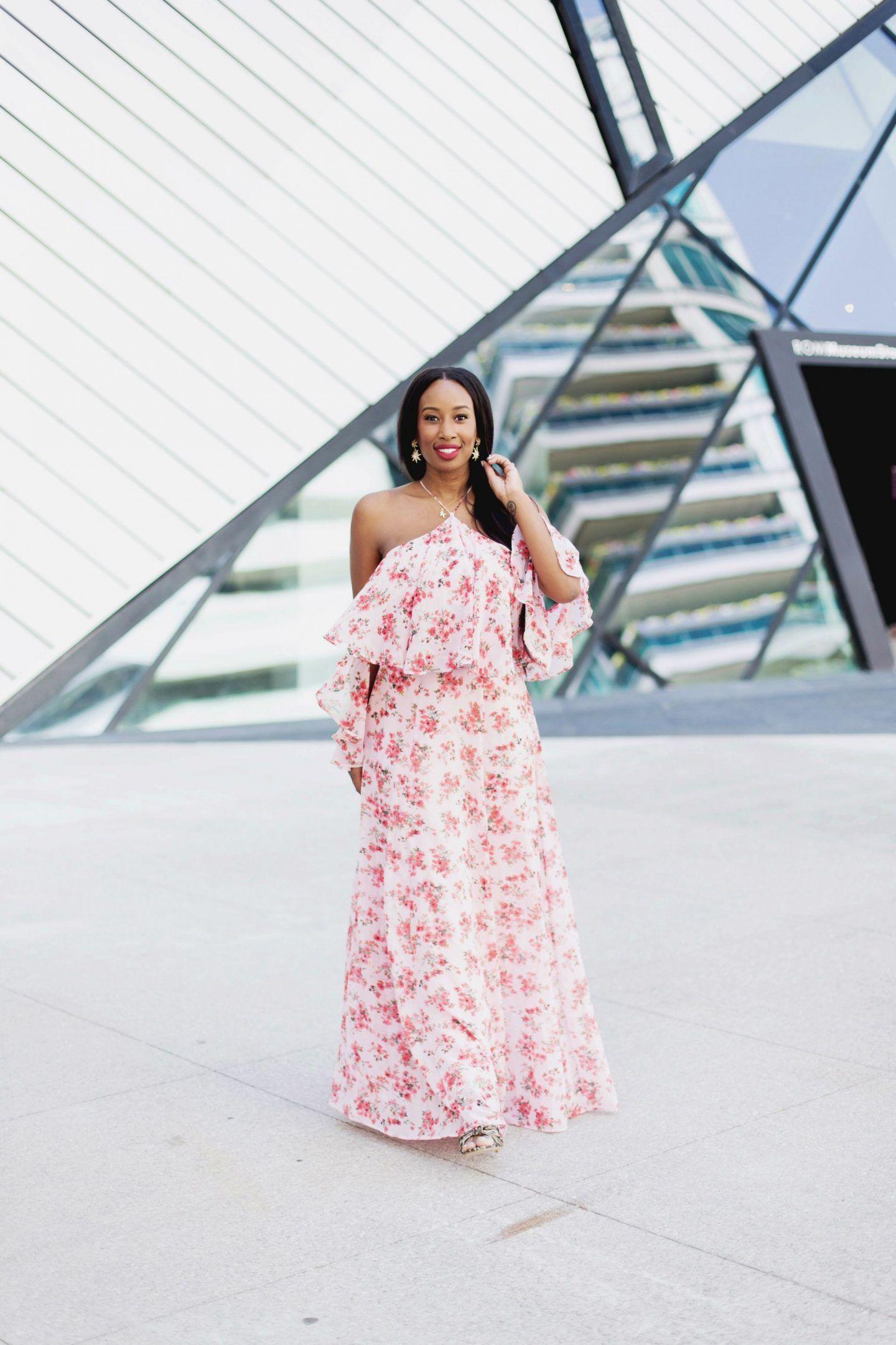 Pink Floral dress, red lipstick, snakeskin heels, black weave ...