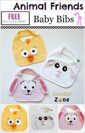 Free Crochet Pattern: Animal Friends Bibs - Crochet Zone | Baby ...