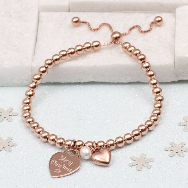 652d9a028bcd Hurleyburley Christmas Rose Gold Ball Personalised Slider Bracelet ( 55) ❤  liked on Polyvore featuring jewelry