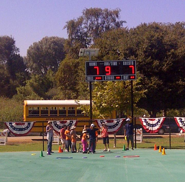 A new solar scoreboard, provided by Chevy's funding though