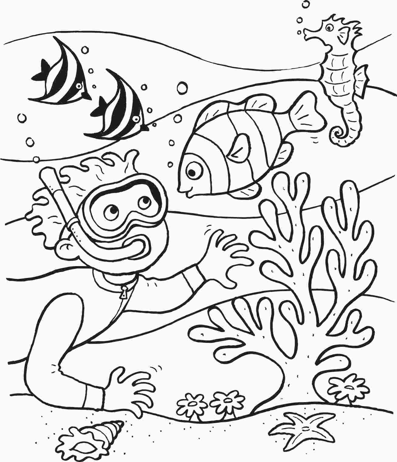 Underwater Coloring Sheets Fish Coloring Page Ocean Coloring Pages Beach Coloring Pages