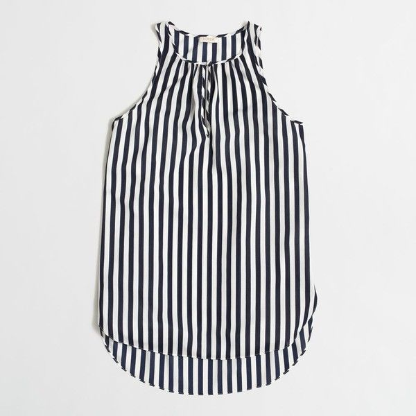 J.Crew Factory printed silky tank top ($30) ❤ liked on Polyvore featuring tops, white singlet, striped tank, stripe tank top, j crew tank and striped tank top