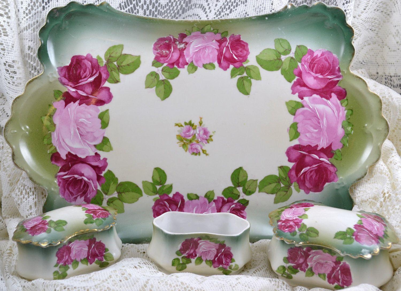 Hand painted m z austria vanity tray set porc van set pinterest