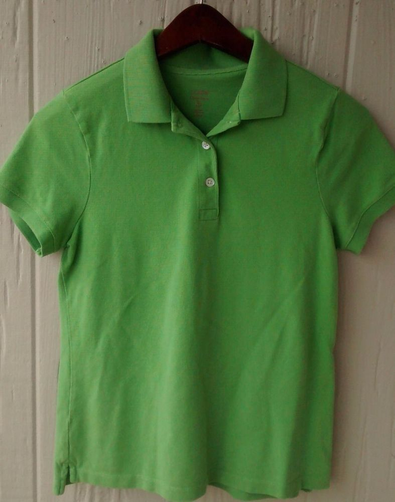 J CREW Green Classic Pique Short Sleeve Youth Girl  Polo Shirt Green Size Medium