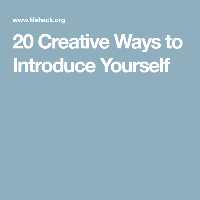 creative ways to introduce someone