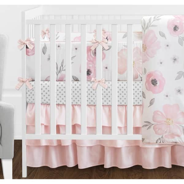 Sweet Jojo Designs Blush Pink Grey And White Shabby Chic Watercolor Fl Collection Baby 9piece Crib Bedding Set Y Nursery Pinterest
