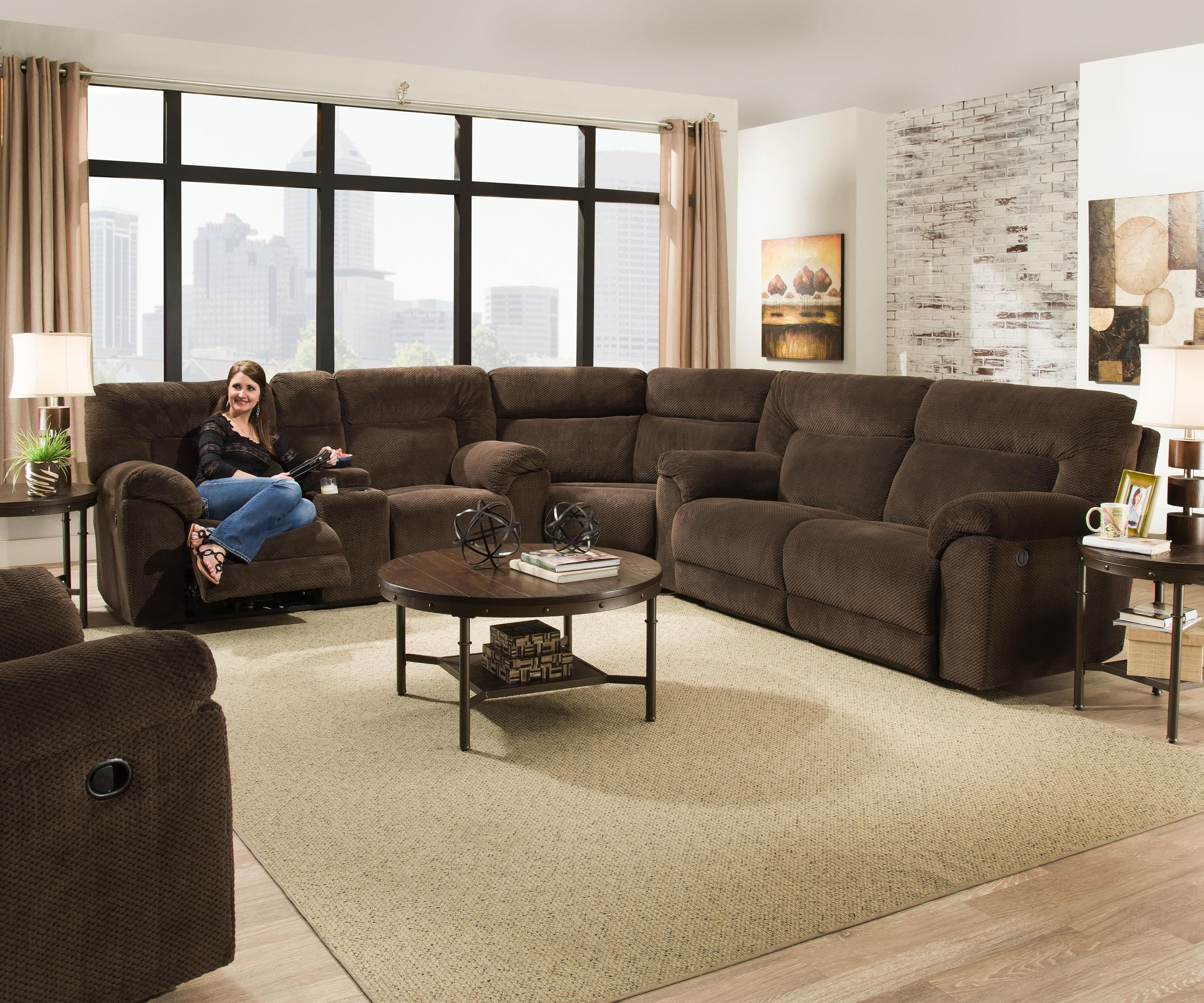 50570 Reclining Sectional Sofa By Simmons Upholstery Reclining Sectional Sectional Sofa Sectional Sofa With Recliner