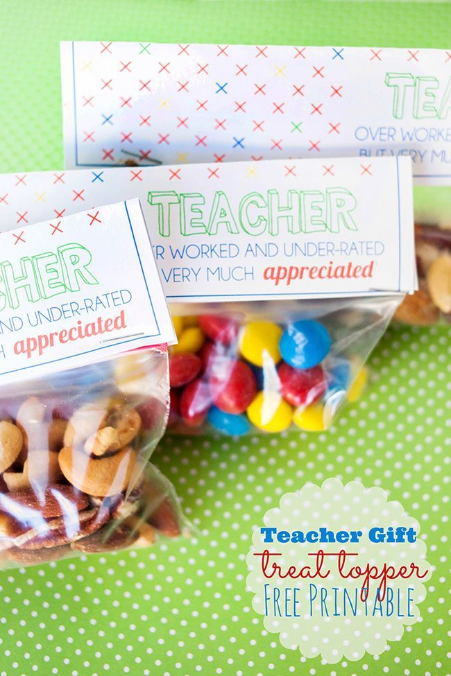 Teacher Gift Treat Topper Printable, easy for any occasion