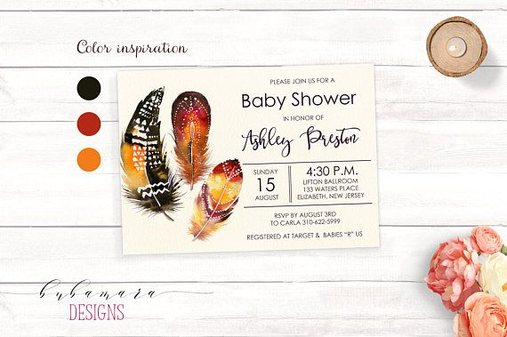 Feather Baby Shower Invitation Aztec Brown Feathers Baby Shower Invite Tribal Boho Orange Feathers Gender Neutral Baby Shower Invite. Three feathers baby shower invitation is made in tribal design with brown and orange colored feathers. It can be used for a baby boy or a girl baby shower which makes it gender neutral. Use if for a gender reveal party also :)  If you want any additional changes, please visit my Customization section: https://www.etsy.com/shop/BubamaraDesig...