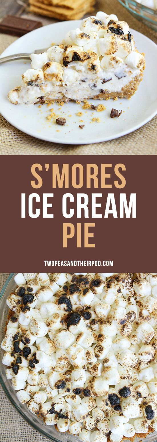 Ice Cream pie made with an easy graham cracker pie crust, ice cream, chocolate, and toasted marshmallows. It is the best summer dessert.