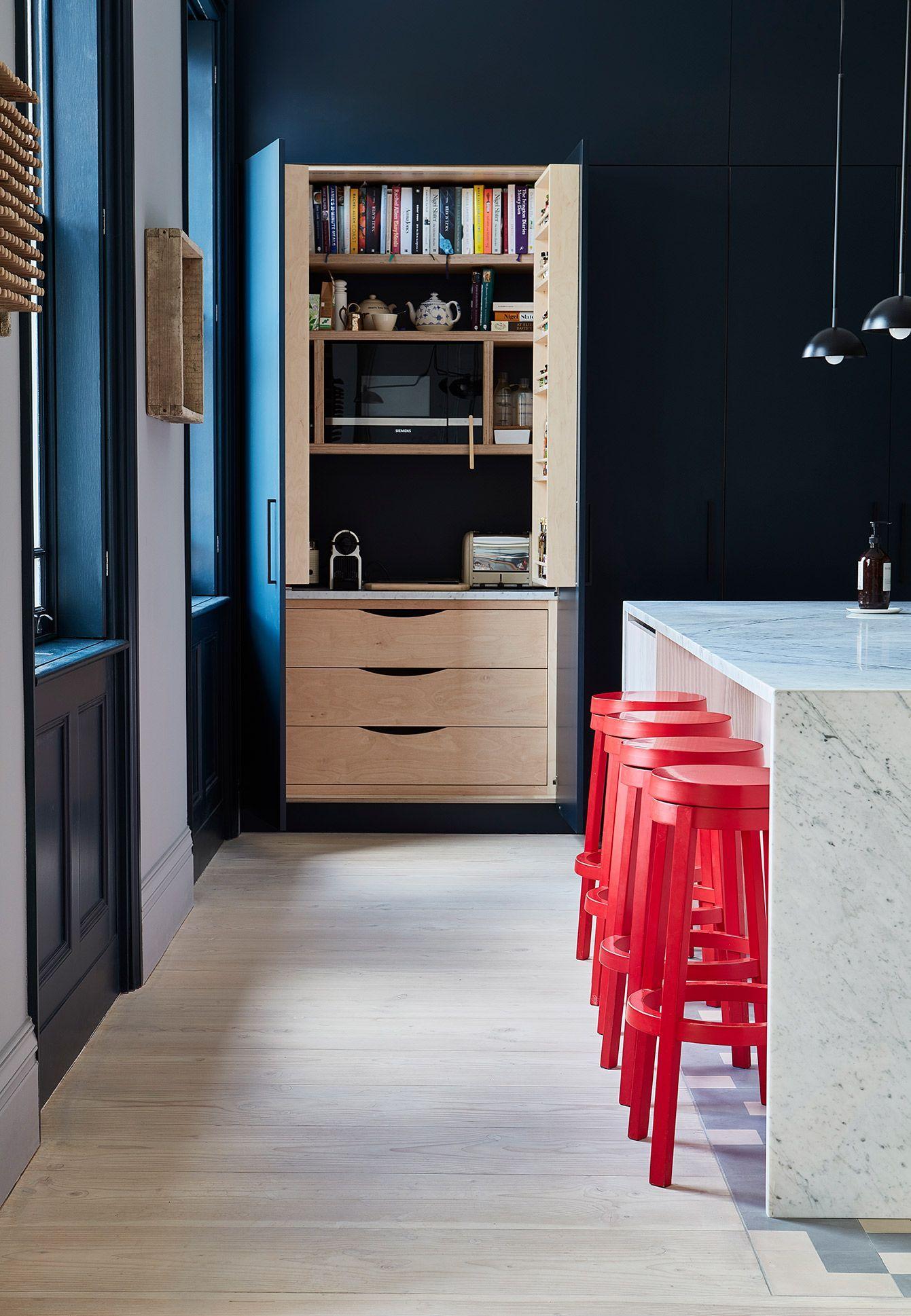 A Beautiful Carrara Marble Kitchen Island Douglas Fir Base Cabinetry And Larder Unit Encaustic Ti Kitchen Marble Marble Kitchen Island Carrara Marble Kitchen