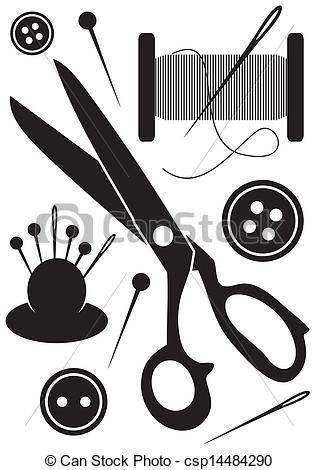 Vector Sewing Tools Icons Stock Illustration Royalty