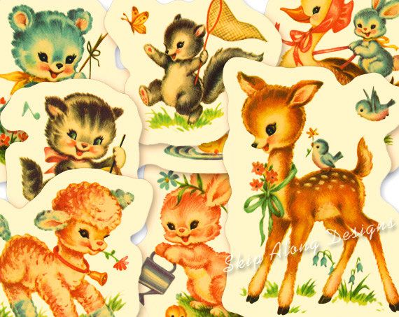Retro Animals Clipart Wildlife Vintage Animal Pencil And In Color