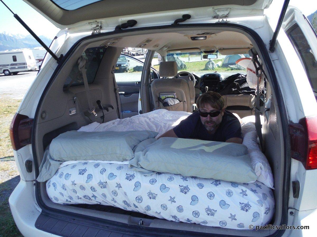 Camping In A Toyota Sienna Minivan Full Size Air Mattress