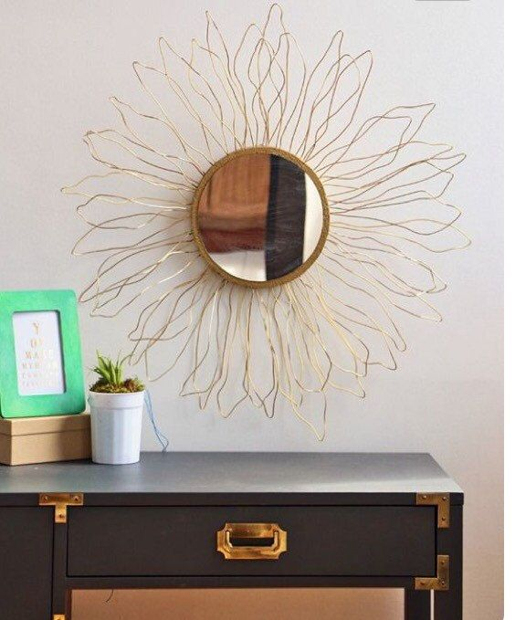 Anthropologie knock off mirror gold sun home by TheArtBoxCreations