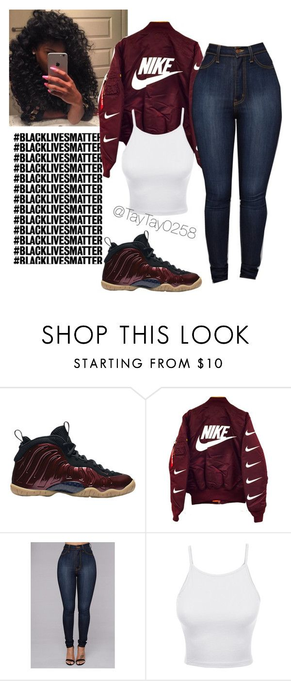 """Maroon Foams"" by taytay0258 ❤ liked on Polyvore featuring NIKE and LE3NO"