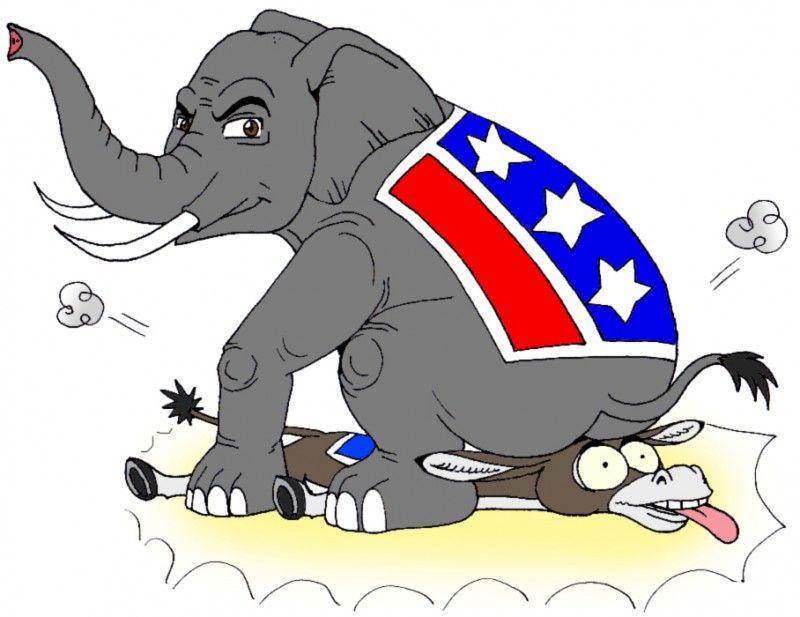 republican elephant sits on democrat donkey e1415161057385 jpg 800