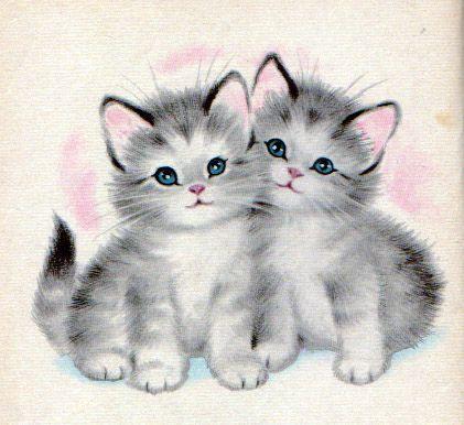 Desenho Fofo De Dois Gatinhos Papel De Carta Desenhos De