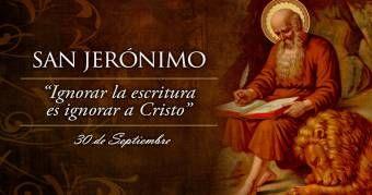 Eusebio Hierónimo de Estridón o Jerónimo de Estridón, San Jerónimo para los cristianos, tradujo la Biblia del griego y el hebreo al latín. Es considerado Padre de la Iglesia, uno de los cuatro grandes Padres Latinos. Murió en Belen.