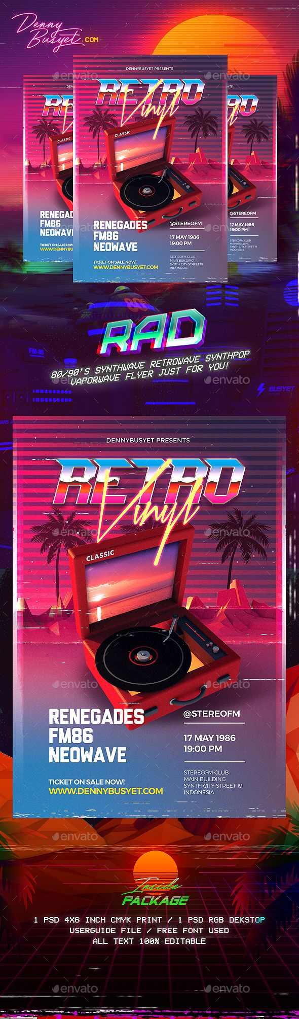 retro vinyl 80 s synthwave flyer template psd flyer templates in