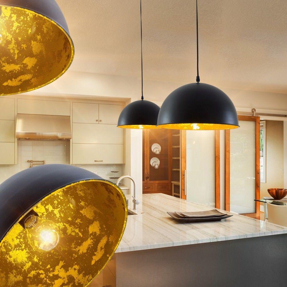 details zu pendelleuchte design h ngelampe wohn ess zimmer leuchten lampe schwarz gold 30cm in. Black Bedroom Furniture Sets. Home Design Ideas