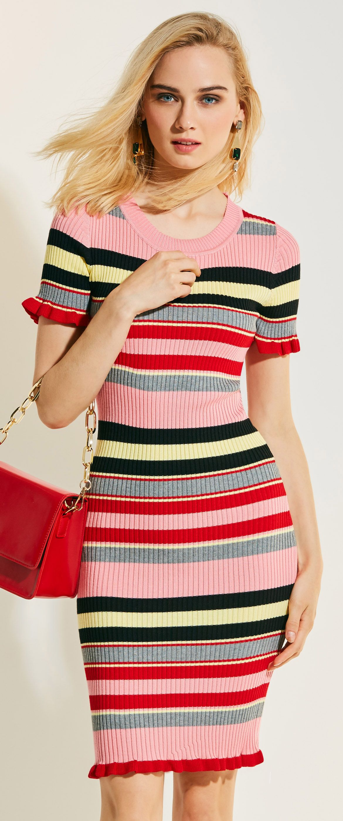 0396a2b99a8 Color Block Stripe sweater Dress. Prepare for the coming fall. Be in beauty  in every season.