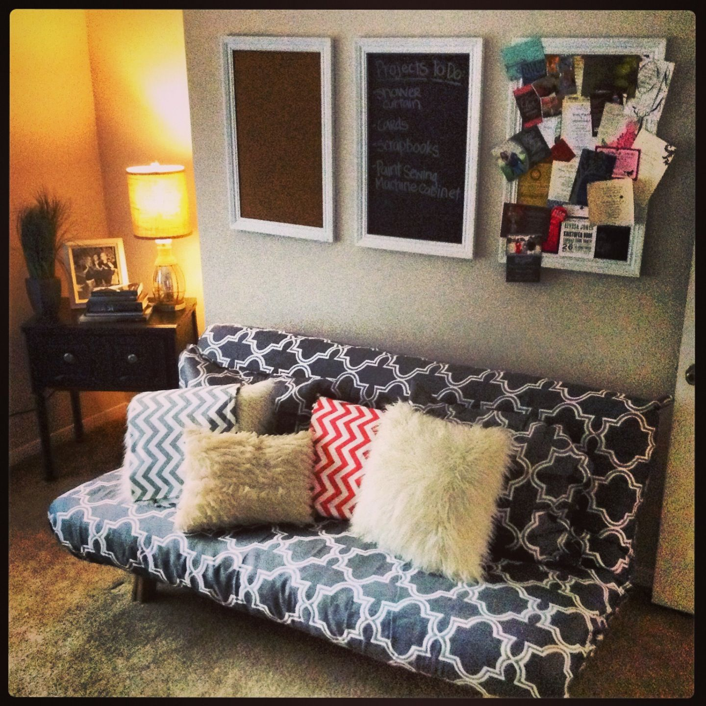 Use a duvet for a futon cover in a craft room that doubles