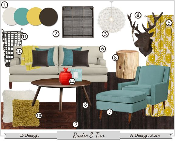 Rustic fun e design living room project adesignstory for Fun living room furniture