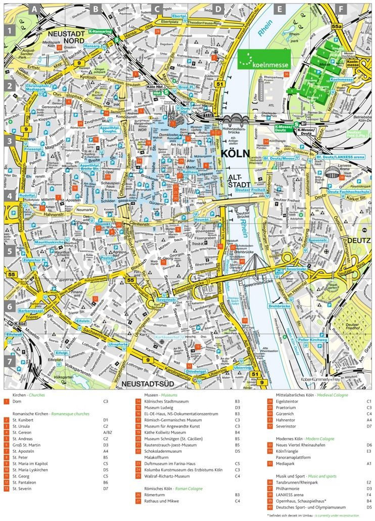 Cologne Tourist Attractions Map Germany Map Cologne Germany Map