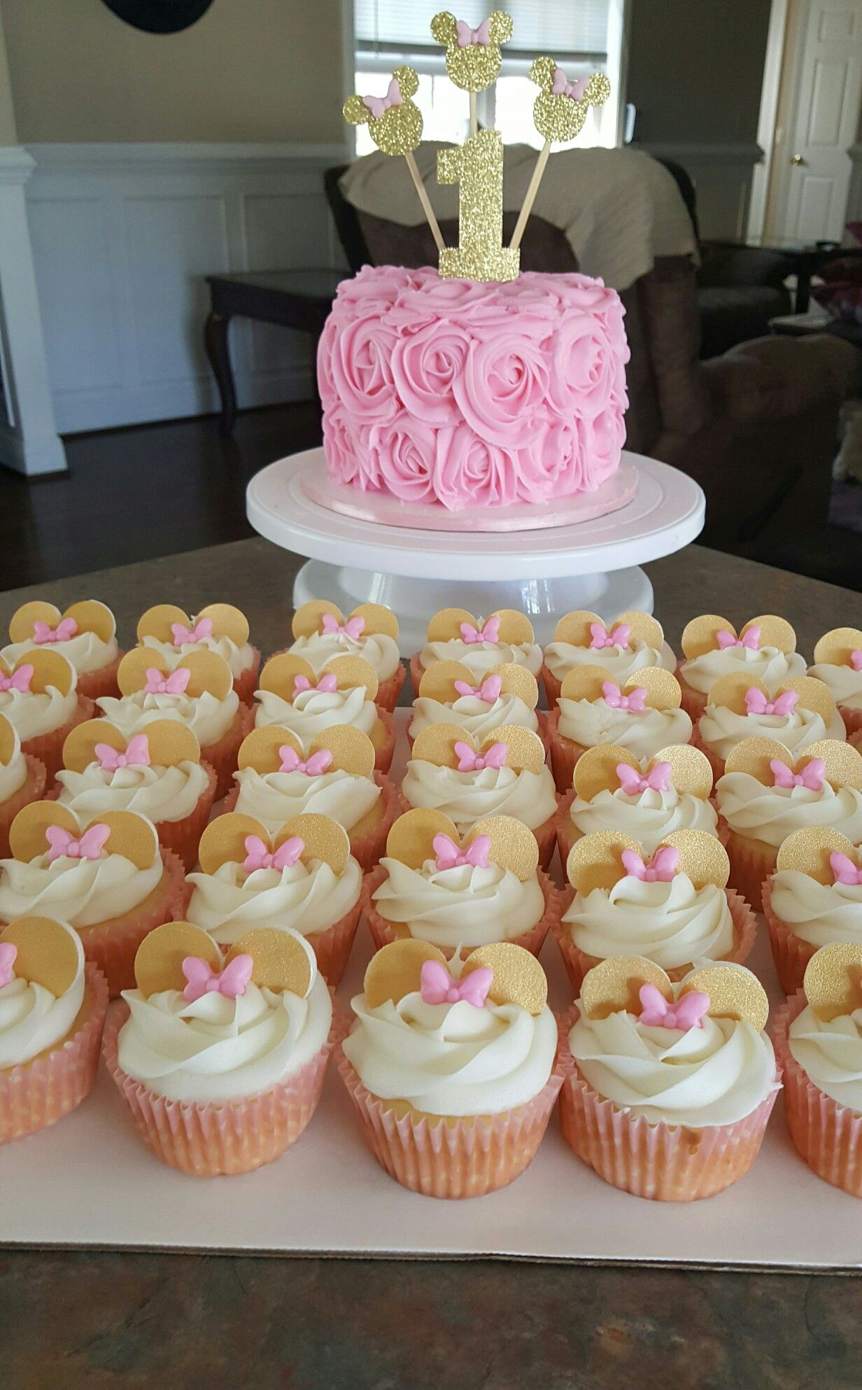 Minnie Mouse Cake And Cupcakes Pink And Gold