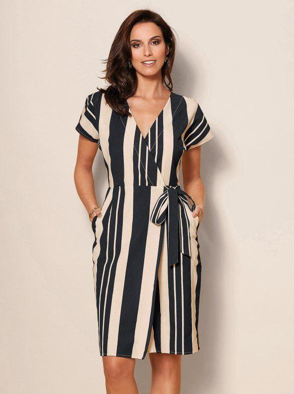 50-70% de descuento imágenes detalladas mejor Vestido mujer rayas verticales con bandas para anudar | Guia ...