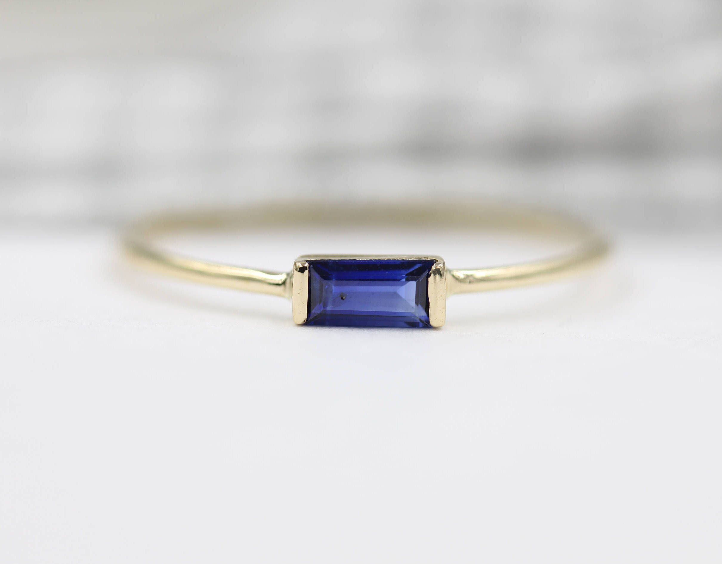Sapphire Ring  Baguette Sapphire Ring  14k Solid Gold Minimalist Blue Sapphire Ring  Stacking Sapphire and Stone Ring Sapphire Jewelry