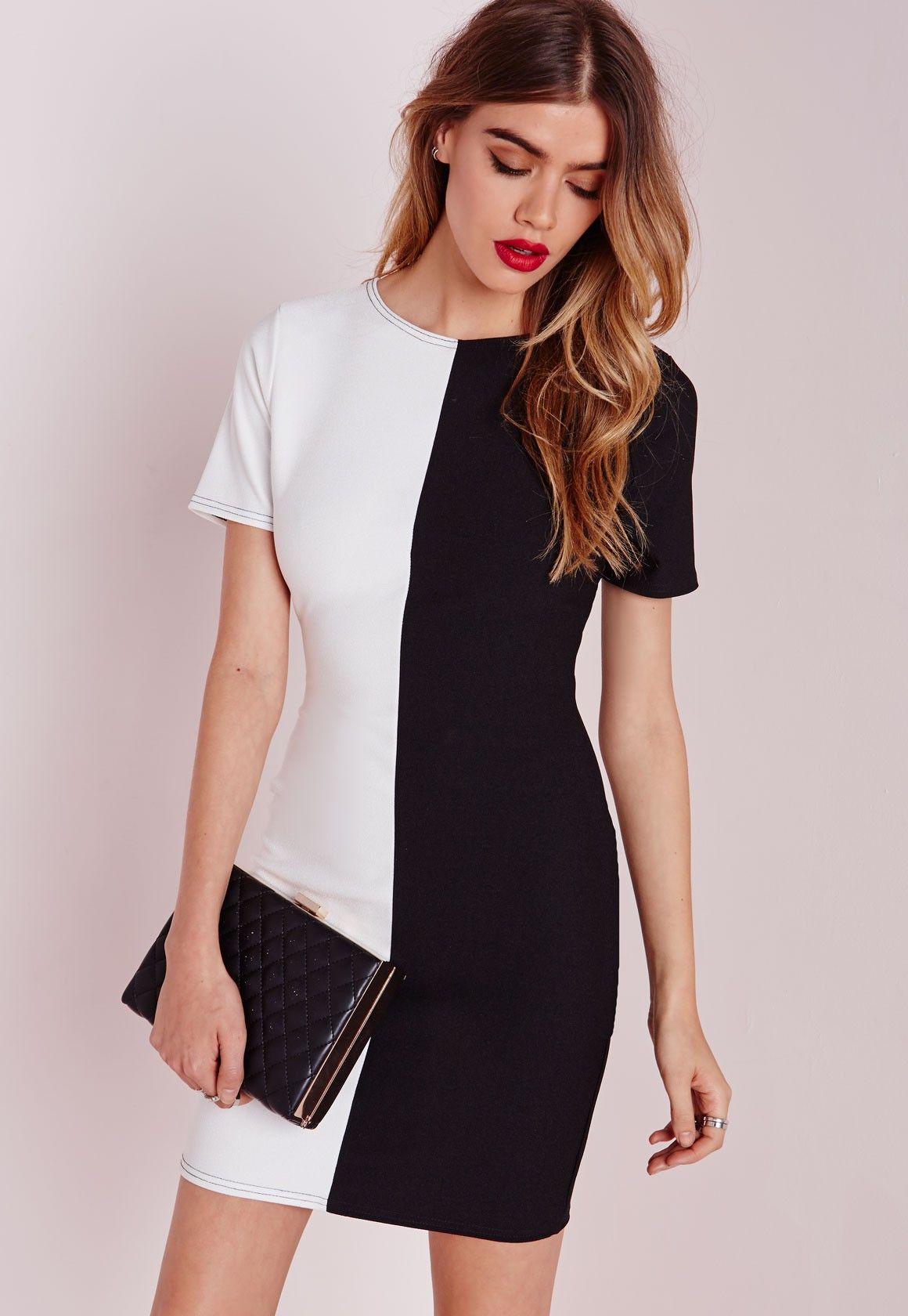 Monochrome Short Sleeve Bodycon Dress - Dresses - Bodycon Dresses - Missguided