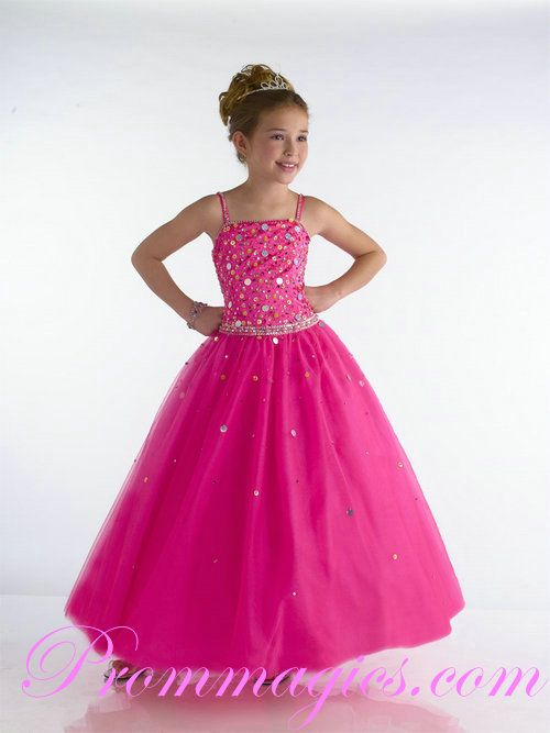 Embellished Bodice Spaghetti Hot Pink Girls Party Dresses ...