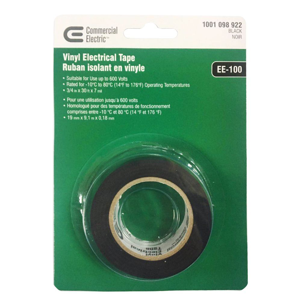 3 4 Inch X 30 Ft Vinyl Electrical Tape Black Electrical Tape Tape Commercial Electric