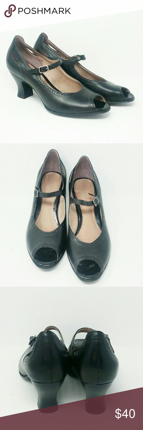 27b58fdc940 Clarks Black Mary Jane Heel Artisan Clark mary jane heel with open toe Size  9 1 2 Heel height approximately 2 1 2