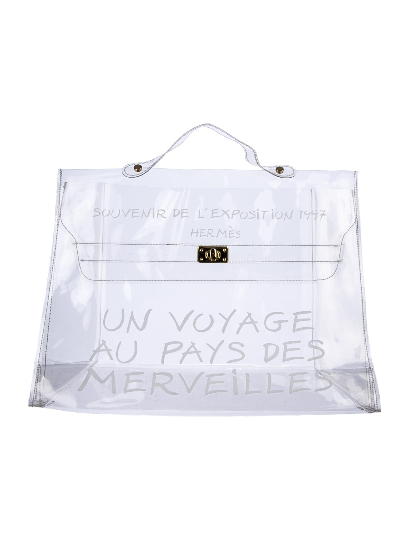 93c4e5668b00 Transparent PVC Hermès Kelly Bag with white print and contrast stitching