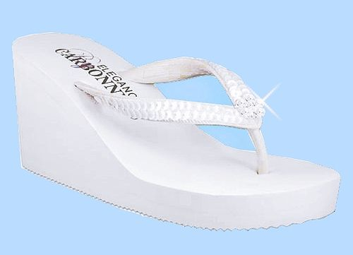Breeze White High Wedge Bridal Flip Flops With Sequins Crystals 15 Wedge Wedding Shoes Bridal Flip Flops Fun Wedding Shoes