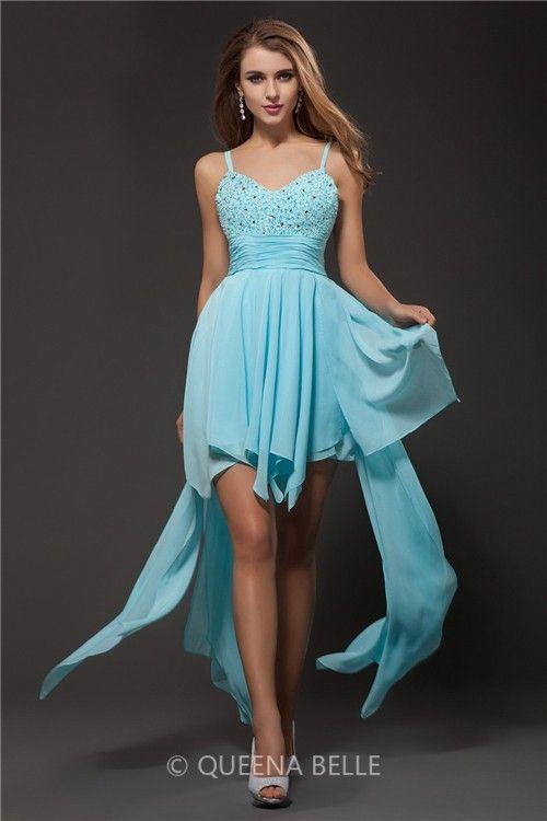 A-Line/Princess Spaghetti Straps Sleeveless Rhinestone Chiffon Dresses