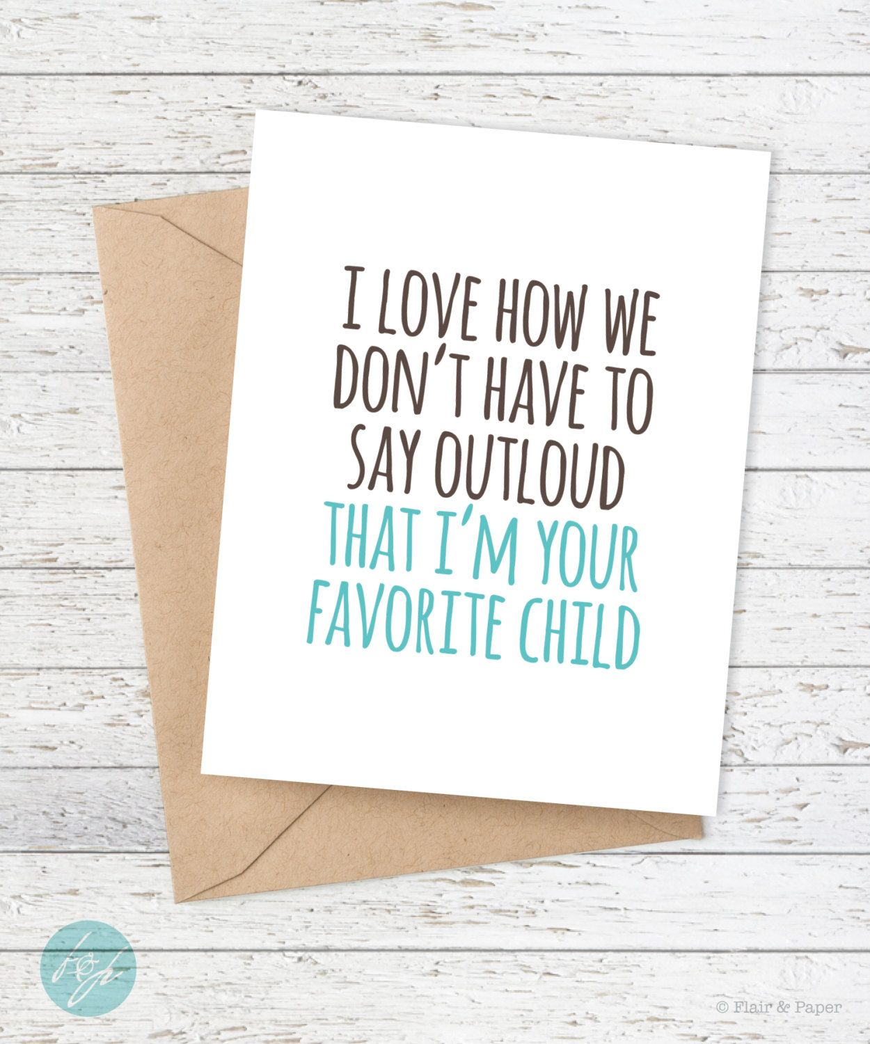 Funny Father's Day Card Mother's Day Card Dad Birthday