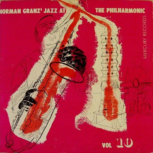 Jazz at the Philharmonic, vol 10., label: Mercury MGC vol. 10 (1951). Design: David Stone Martin.