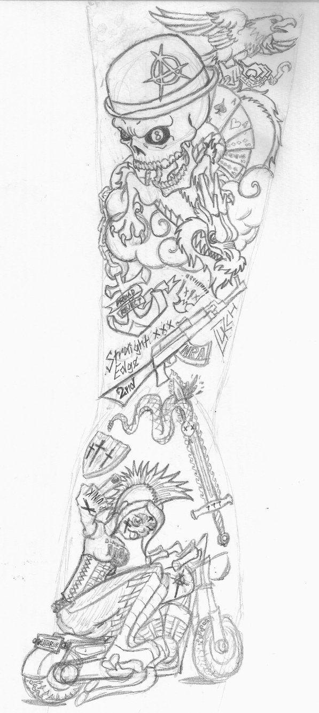 Skull Sleeve Tattoo Designs Pencil sketch for sleeve