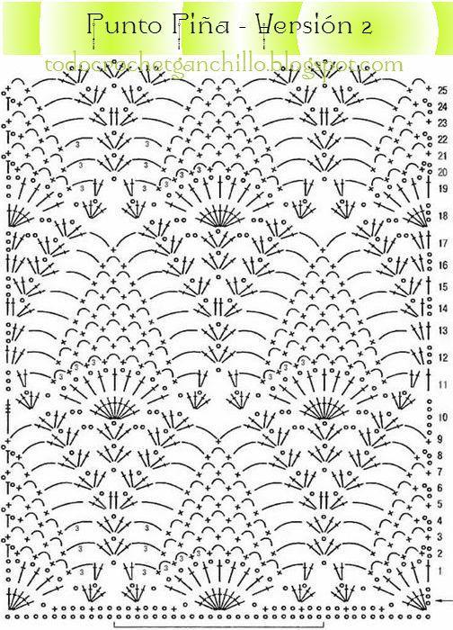 Resultado de imagen para punto piña crochet | CROCHET : CALADO