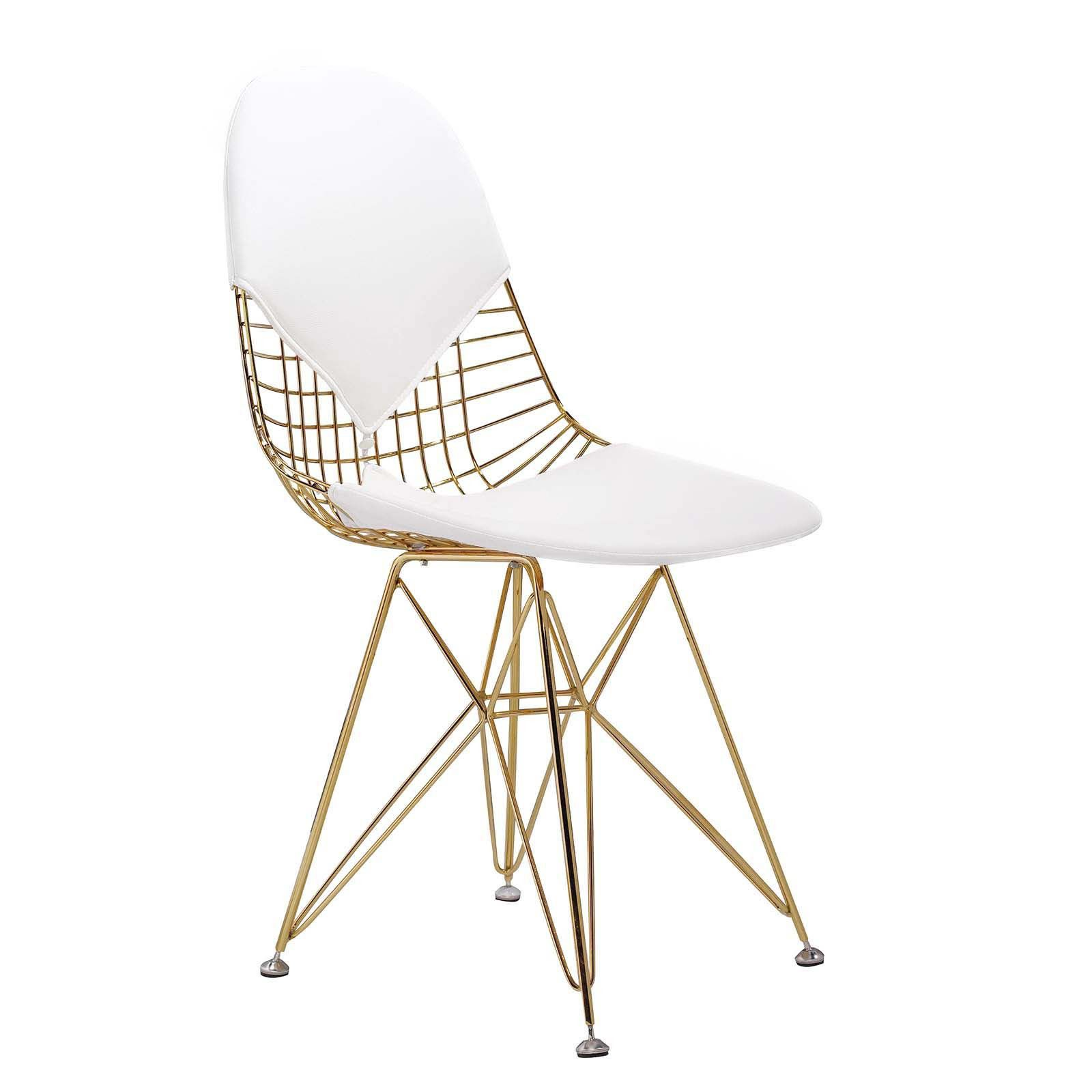M245 Chair In Gold And White Gold Chair Wire Dining Chairs