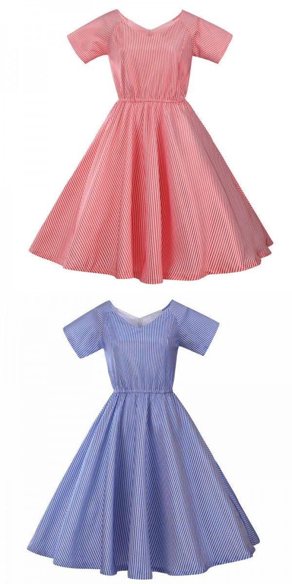 Royal Blue 50s V-Neck Striped Vintage Dress